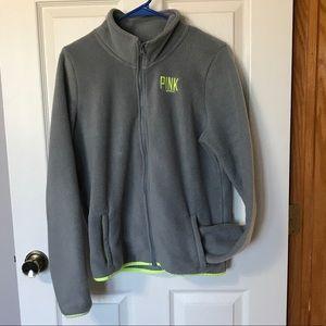 VS PINK fleece jacket in gray/yellow